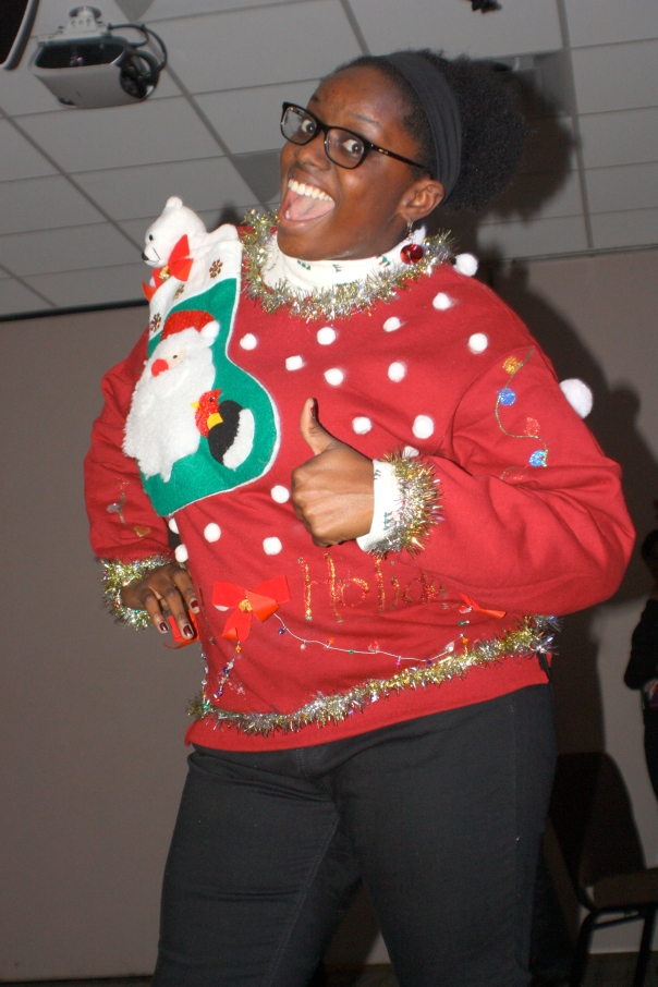 Without a doubt, her is our winner with her DIY sweater that has a singing teddy bear